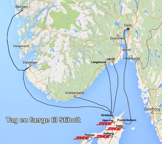 Det er let at komme til Stiholt - tag en færge fra Bergen, Stavanger, Kristiansand, Langesund, Larvik eller Oslo